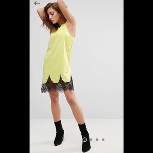 Neon yellow t shirt dress with lace inlays